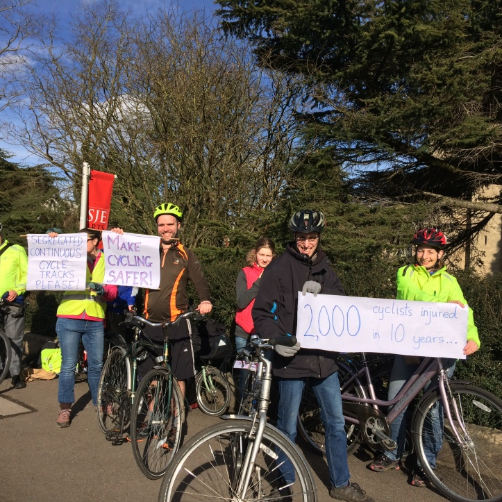Residents demonstrate for safer cycling along the Iffley Road.JPG